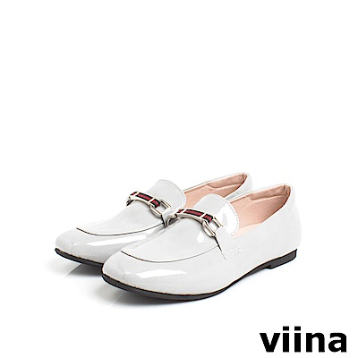 viina Basic 鏡面織帶樂福鞋 - 灰