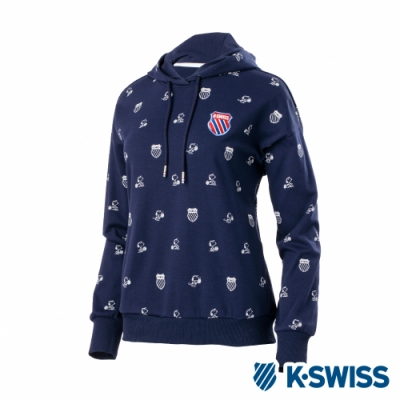 K-SWISS Pattern Swearshirts SNOOPY連帽上衣-女-深藍