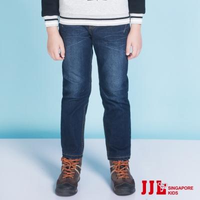 JJLKIDS 經典水洗紋修身彈性棉質牛仔褲(深藍)
