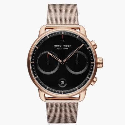 Nordgreen Pioneer   極夜黑錶盤 - 網格鈦鋼錶帶玫瑰金 42mm(PI42RGMEROBL)