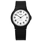 CASIO 卡西歐 簡潔復刻 橡膠手錶-白x黑 MQ-24-7B2 33mm