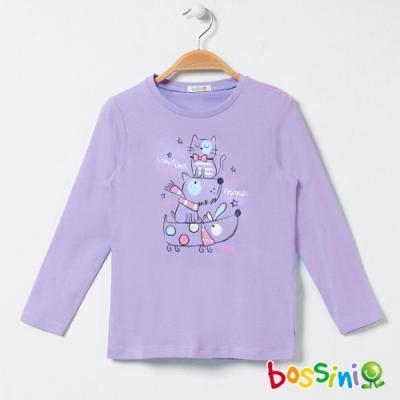 bossini女童-印花長袖T恤09淺紫