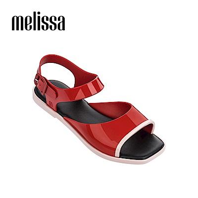 Melissa 復古方頭撞色涼鞋-紅色