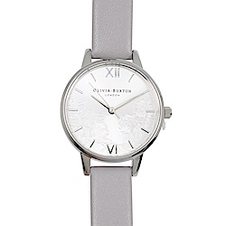 Olivia Burton 英倫復古手錶 浮金歲月法式蕾絲 灰色真皮錶帶銀框30mm