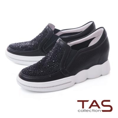 TAS異材質拼接蕾絲燙鑽內增高休閒鞋-潮流黑