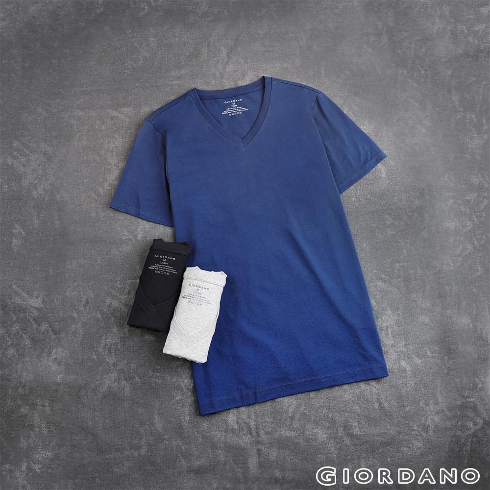 GIORDANO 男裝素色純棉V領短袖T恤(三件裝) - 26 藍x灰x黑