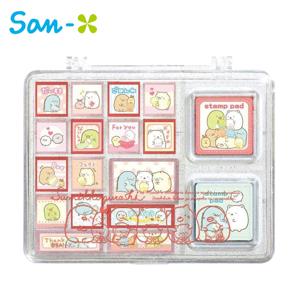 日本正版 角落生物 盒裝印章組 16種圖樣 玩具印章 手帳印章 橡皮章 角落小夥伴 726139