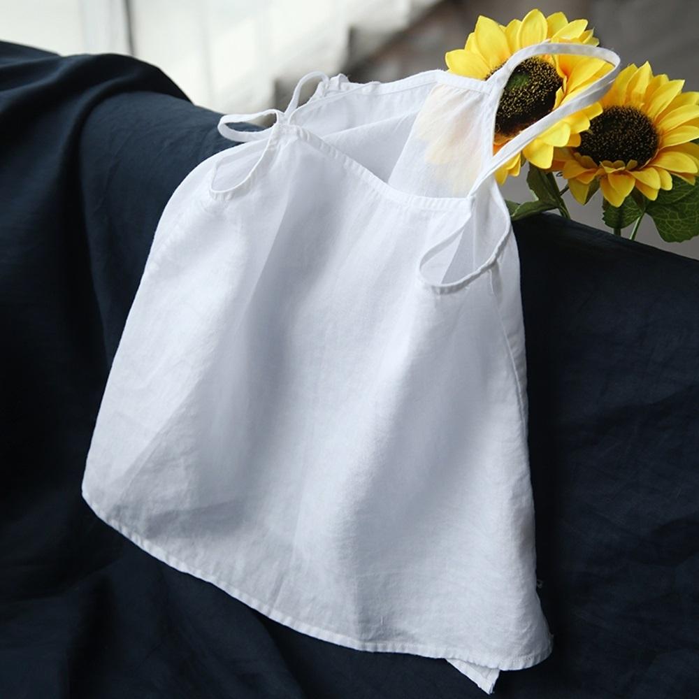 純淨白苧麻吊帶背心無袖棉麻內搭上衣-設計所在