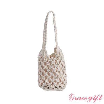 Grace gift-韓系縷空編織網袋 米白