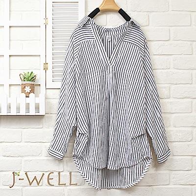 J-WELL 清新V領條紋長袖襯衫(3色)