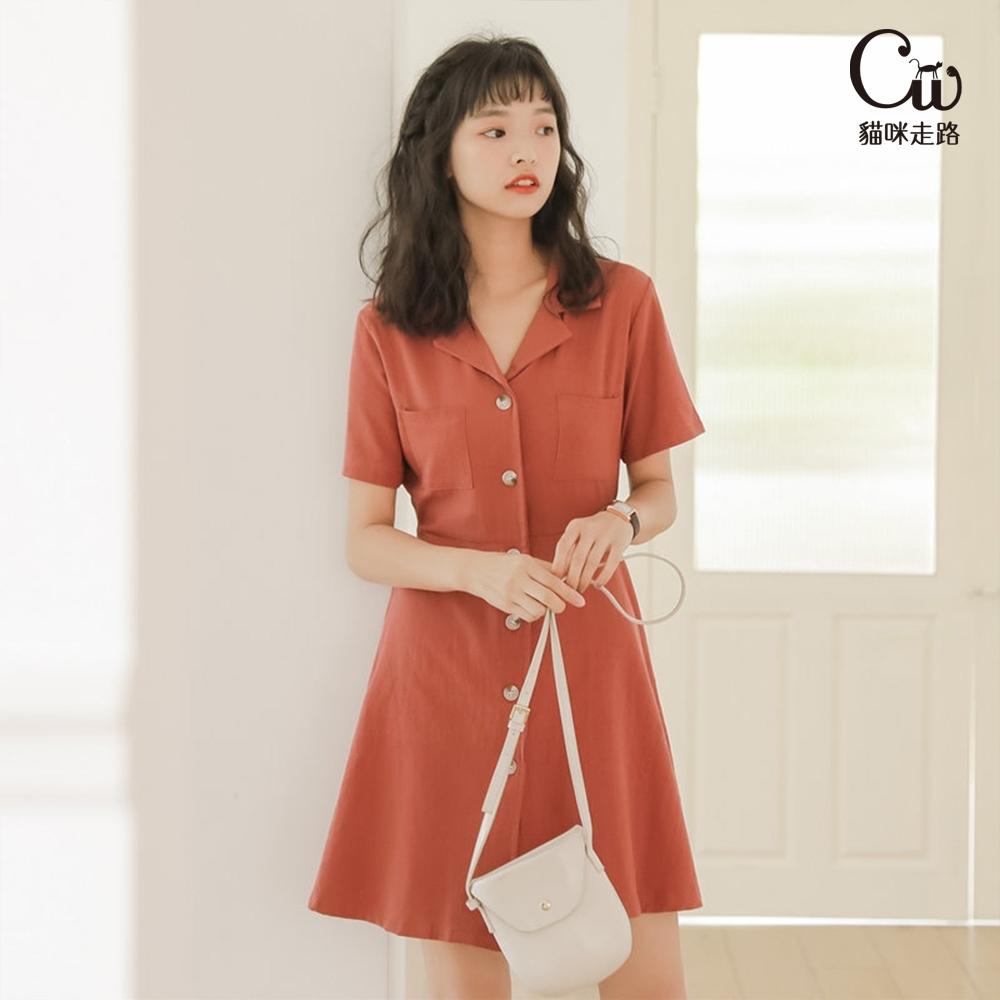 [CW.貓咪走路]百搭優雅氣質桔梗A字西裝領洋裝(KDD-6968)