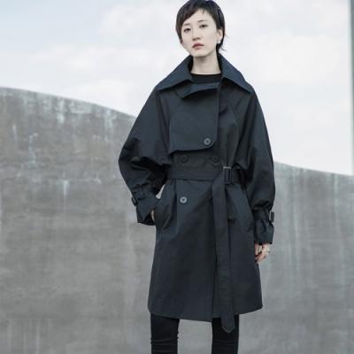 設計所在Style-自製蝙蝠袖氣質中長版風衣外套