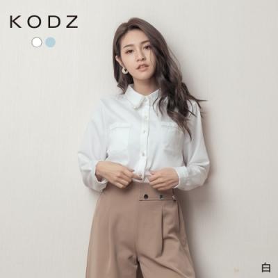 東京著衣-KODZ 甜美氣息珍珠釦流蘇鬚邊口袋襯衫上衣(共二色)