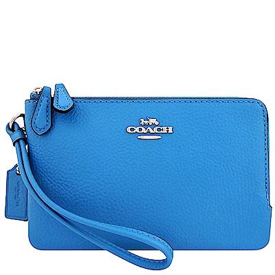 COACH 水藍色皮革雙層手拿包