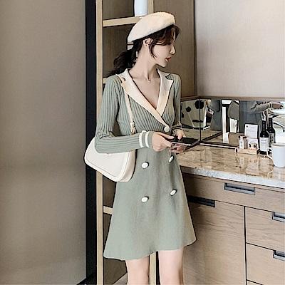 DABI 韓國小香學院風氣質顯瘦針織長袖洋裝