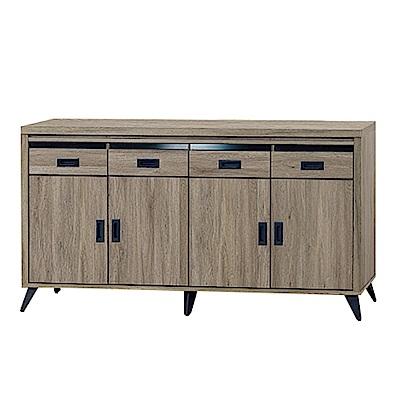 綠活居 亞非德時尚5.3尺木紋餐櫃/收納櫃-159x40.5x84cm-免組