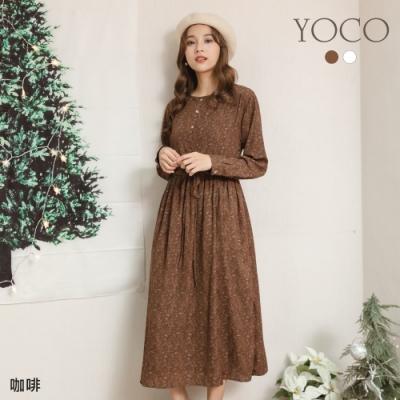 東京著衣-YOCO 微糖甜心碎花排釦腰抽繩長洋裝
