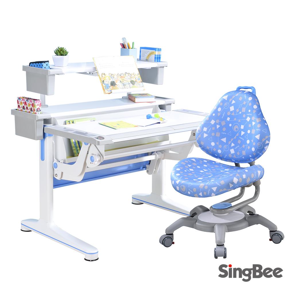 【SingBee欣美】多功能氣壓桌+收納上層板+133椅-兒童成長桌椅/台灣製/書桌椅
