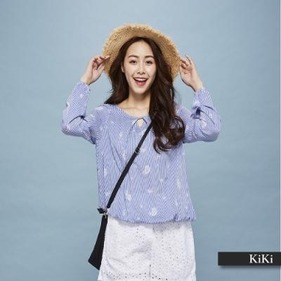 【KiKi】圖騰印花條紋長袖-上衣(藍色)