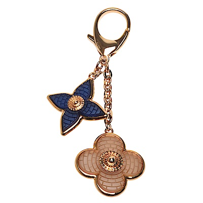 LV GA0161經典Monogram花卉金屬切割吊飾/鑰匙圈(藍X米棕色)