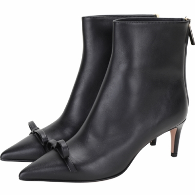 RED VALENTINO 蝴蝶結皮革尖頭短靴(黑色)