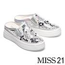 拖鞋 MISS 21 時尚潮感異材質拼接休閒厚底拖鞋-銀