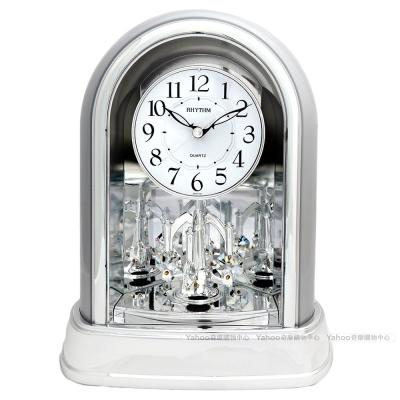RHYTHM麗聲 典雅施華洛世奇水晶座鐘(高貴素銀)/22cm