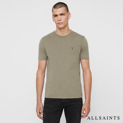ALLSAINTS BRACE TONIC 公羊頭骨刺繡純棉修身短袖T恤-草灰綠