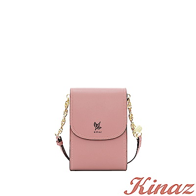 KINAZ 清秀身影鏈帶斜背包-珊瑚粉-常春藤系列-快