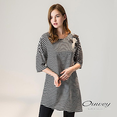 OUWEY歐薇 輕薄兩件式連袖條紋上衣(黑)