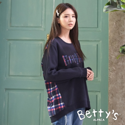 betty's貝蒂思 後格紋前印花單口袋T-shirt(深藍)