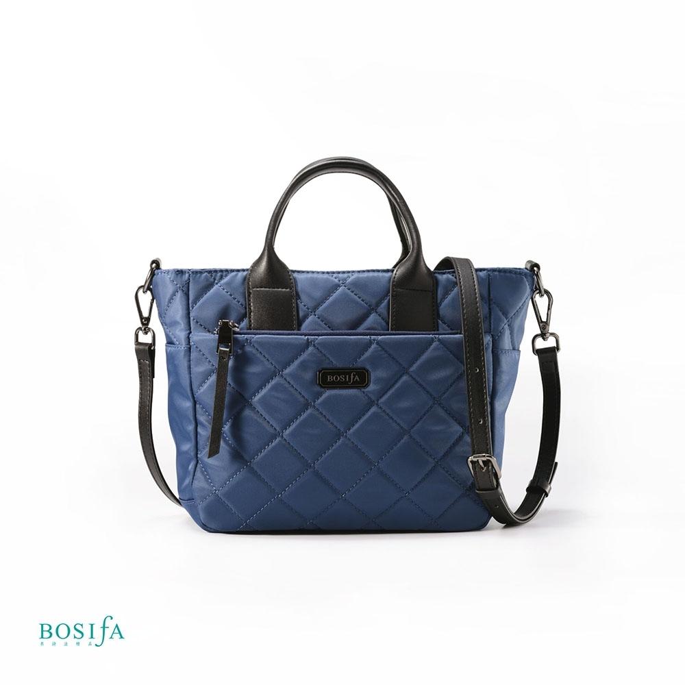 【BOSIfA】亮彩菱格紋手提包(經典藍182001BR)(暢貨出清)