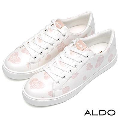 ALDO 原色佐桃心玫瑰綁帶式厚底休閒鞋~清爽白色