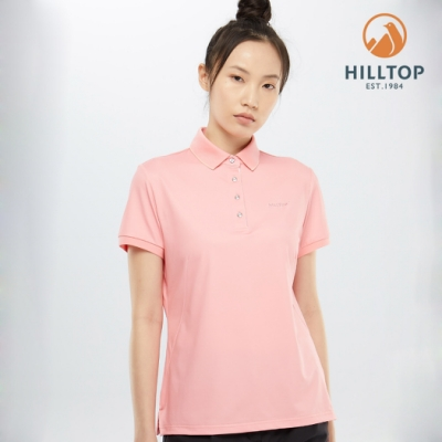 【hilltop山頂鳥】女款吸濕快乾抗菌彈性POLO衫PS14XFG9ECF0嬰兒粉