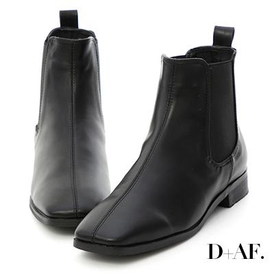 D+AF 話題主角.復古方頭切爾西短靴*黑