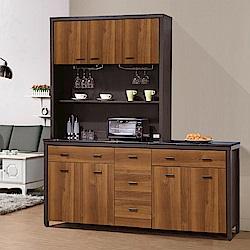 凱曼 阿德6尺石面雙色餐櫃收納櫃(上+下座)