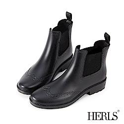 HERLS 側鬆緊切爾西雕花短筒雨靴-黑