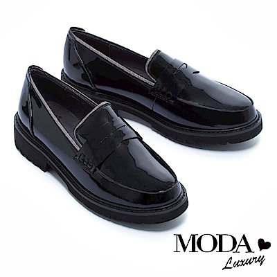 厚底鞋 MODA Luxury 經典復古學院風百搭鏡面樂福厚底鞋 -黑