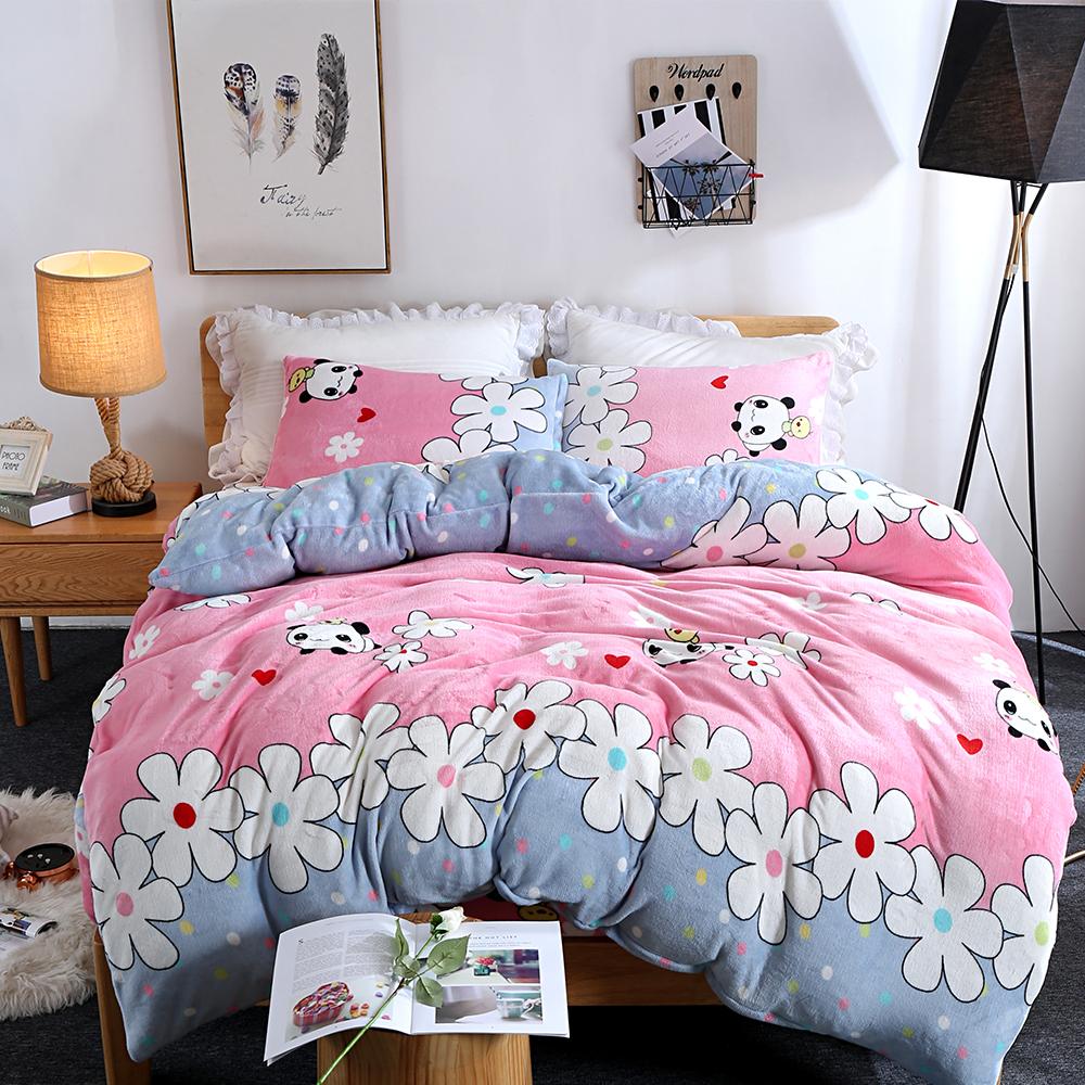 生活提案 法蘭絨加大四件式 被套床包組 熊貓