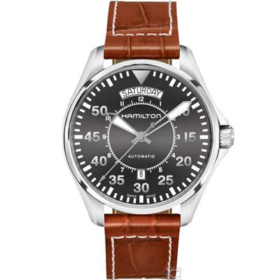 (無卡分期12期)Hamilton KHAKI 航空80小時機械錶(H64615585)