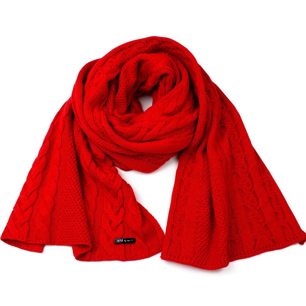agnes b.時尚麻花編織 針織保暖長圍巾(紅色)