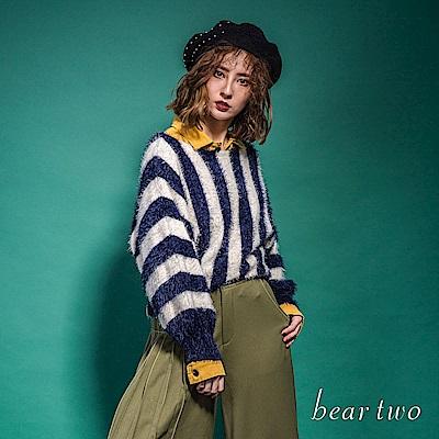 beartwo 條紋寬領澎袖時尚毛毛上衣(二色)