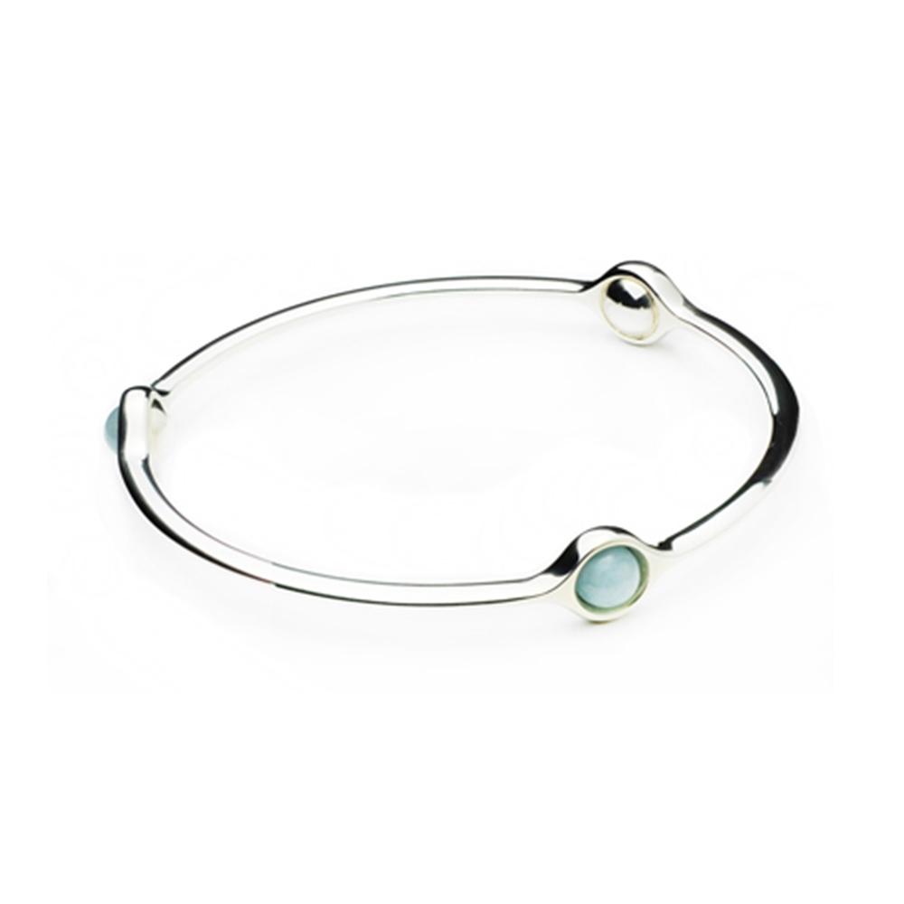 Georg Jensen 喬治傑生 Sphere 海水藍寶+純銀手環