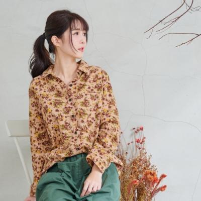 慢 生活 復古小碎花質感棉襯衫- 杏色
