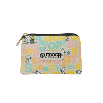 【OUTDOOR】SNOOPY聯名款字母版票卡零錢包-奶茶色 ODP19E08BE