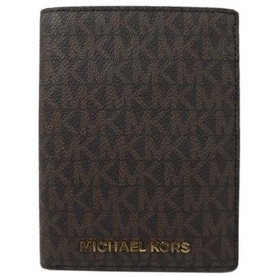 MICHAEL KORS JET SET 經典PVC對開式護照中夾(深咖)