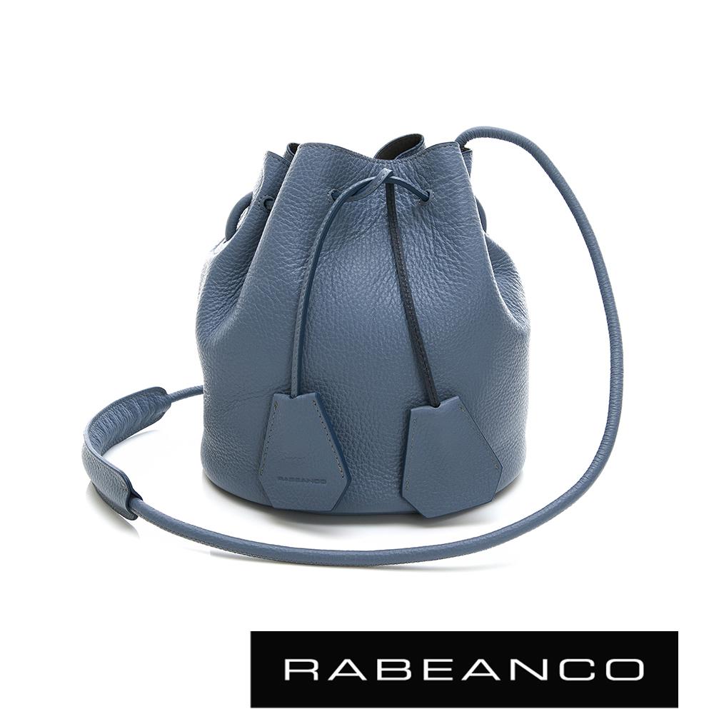 RABEANCO 真皮荔枝紋經典束口水桶包 - 船塢藍