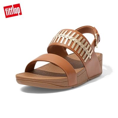 FitFlop LULU WRAPPED WEAVE BACK-STRAP SANDALS 金屬色編織造型後帶涼鞋-女(淺褐色)