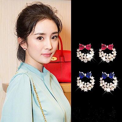 梨花HaNA 韓國S925銀針蜜糖花環水晶耳環藍色水晶