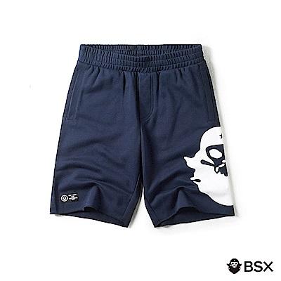 BSX 男裝VON品牌印花棉質短褲-03 海軍寶藍